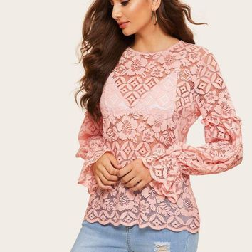 Guipure Lace Bishop Sleeve Top Without Bra