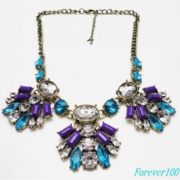 Gemstone Necklace , J'crew Inspired Statement Necklaces , Bubble Bib Necklace, Crystal & Rhinestone Anthropologie Necklace