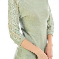 Wistful Solemnity Lace Detail 3/4 Sleeve Knit Top in Moss | Sincerely Sweet Boutique