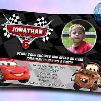 Cars Mcqueen and Mater Invitation Design Included Photo by SaphireInvitations