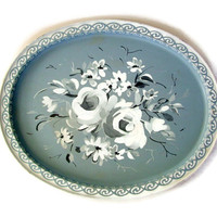 Vintage Toleware Tin Tray Oval Roses Grey and White