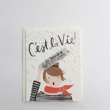 C'est La Vie French Cheer Up Greeting Card, USA Made