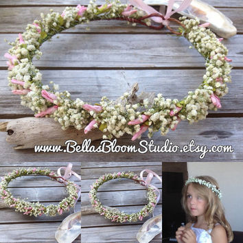 Flower Girl Crown Dried Babys Breath Flower Blush Hair Wreath,White flower crown,Babys Breath Crown Halo,Hair Wreath Blush floral crown etsy
