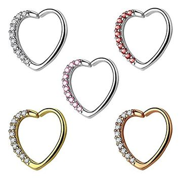 BodyJ4You 5PCS 16G Daith Earring Piercing Heart Paved CZ Tragus Helix Cartilage Hoop Body Jewelry