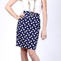 Vintage Polka Dot Pencil Mini Skirt
