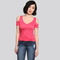 Ria Cold Shoulder Tee - Coral - Gypsy Warrior