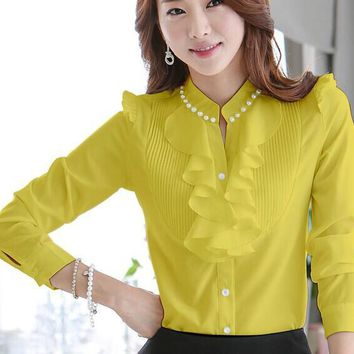 Hot Sale 2017 Spring Autumn Women Blouses Long Sleeve Slim Ruffles Chiffon Top Women Beading Plus Size Chiffon Tops 682D 32