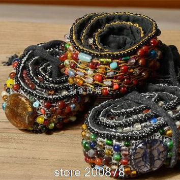 HDC0631 Indian hand Sewed Colorful Glass Beads BOHO Embroidered waistband,lady decor belt Fashion Cute Belts 70cm
