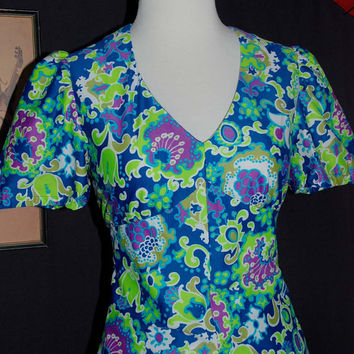 70s Flower Power Mini Dress and Shorts Set