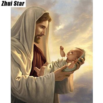 Jesus child 20x25 Needlework Square Embroidery Diy Diamond Painting Drill Rhinestone Full Pasted Pattern Decoration Paintings