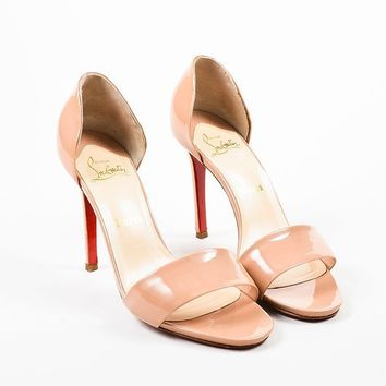 DCCK2 ?Christian Louboutin Nude Taupe Patent D  Orsay Passmule Sandal Heels