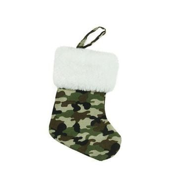 MDIGMS9 7' Army Camouflage Mini Christmas Stocking with White Faux Fur Cuff
