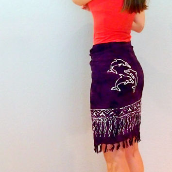 Vintage Dolphin Sarong Wrap Skirt with Fringe, Tribal Print Bohemian Skirt