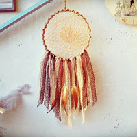 Bohemian Dreamcatcher - Cream Caffee - Lace Dream catcher - Made To Order-  Hippie Boho Bedroom Decor - Gypsy Room Decor