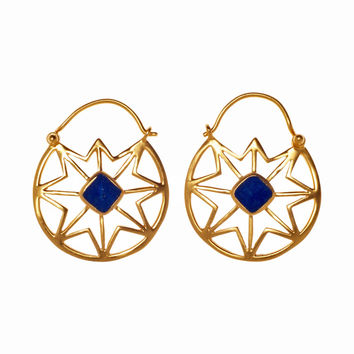 Afghan Lapis Cutout Earrings