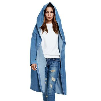 Coats Autumn Women Solid Color Long Hooded Trench Single Breasted Denim Pocket Coat