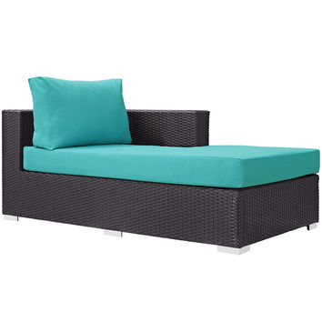 Convene Outdoor Patio Fabric Right Arm Chaise Espresso Turquoise