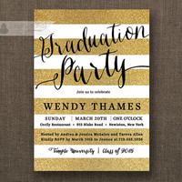 Gold & Black Graduation Party Invitation Gold Glitter Horizontal Stripes Modern Black Script Bachelorette DIY Digital or Printed- Wendy