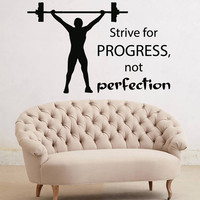 Fitness Wall Decals Sportsman Bodybuilder With Crossbar Sport Wall Quotes Strive For Progress Gym Decor Vinyl Sticker Interior Design kk766