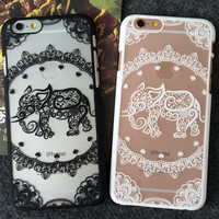 Cute Hollow Out Elephant iPhone 7 se 6 6s Plus Case + Gift Box
