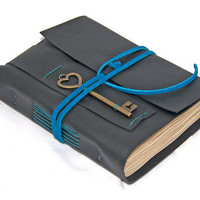 Black Leather Journal with Tea Stained Paper and Heart Key Bookmark