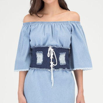 In Distressed Denim Lace-Up Corset Belt GoJane.com