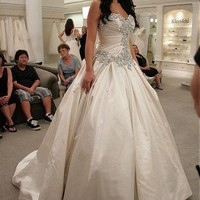[188.99] Amazing Satin Sweetheart Neckline Ball Gown Wedding Dresses With Beaded Embroidery - dressilyme.com