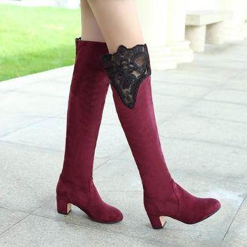 Lace Patchwork Round Toe Low Chunky Heels Knee-length Long Boots