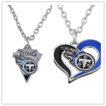 2 Style Alloy Sports Enamel Football Team Tennessee Titans Pendant Necklace With 500+50mm Chain For Men & Women 20pcs/lot