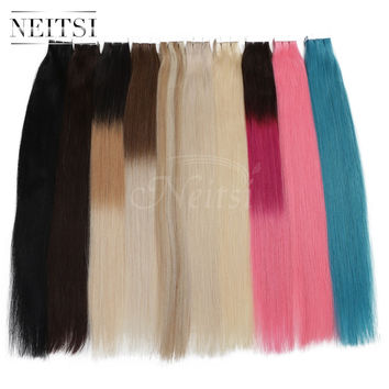 "Neitsi 5A 20"" 50g 100g Remy Tape Skin Weft Ombre Human Hair Straight Extensions 100%Brazilian Remy Tape Hair 14 Colors Fast Ship"