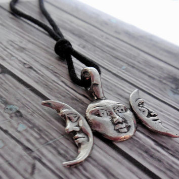 Pewter Triple Moon Goddess Pendant On Black Silk Cord / Pagan , Wiccan Triple Moon Necklace / Maiden, Mother , Crone