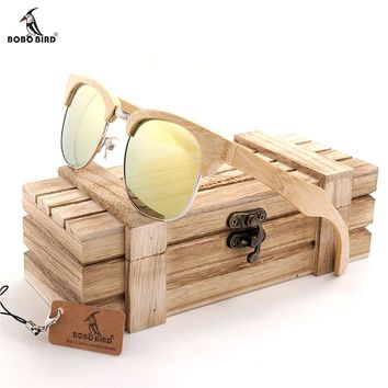 BOBOBIRD G26-1 Unisex Polarized Sunglasses Semi Enclosure Design Handmade Bmaboo Wooden Glasses oculos de sol masculino With Box
