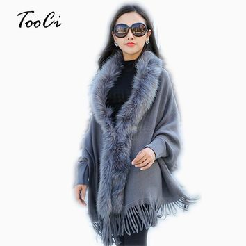Fashion New And Winter Women Faux Fur Collar Cape Shawl Cardigan Women Tassel Knit Cardigan Sweater Poncho