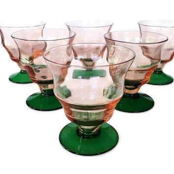 Rare Watermelon Glass, Depression Glass Tumblers, Dessert Dishes, Pink, Green