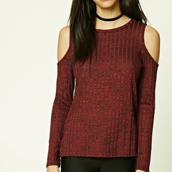 Open-Shoulder Marled Top