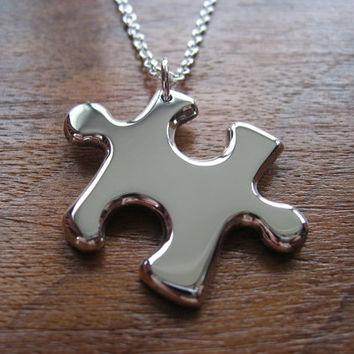 Silver Puzzle Piece Pendant Necklace