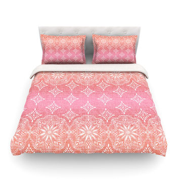 "Suzie Tremel ""Medallion Red Ombre"" Pink Featherweight Duvet Cover"