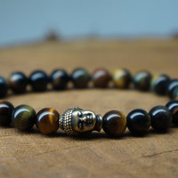 Men's Buddha Tiger Eye Jasper Gemstone Bracelet, Mala Bracelet, Men's Gift, Men's Jewelry