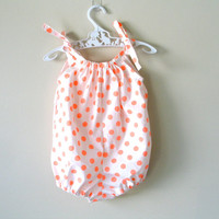 Baby girl rompers orange polka dot bubble rompers playsuit