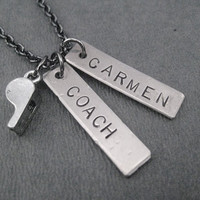 COACH Personalized Necklace - Personalized Coach Necklace with Whistle Charm - Coach Name Necklace - Coach Whistle