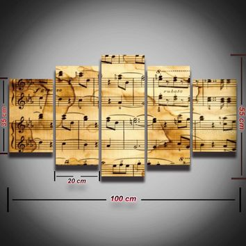 Music notes canvas panel wall art canvas home decor living room framed unframed