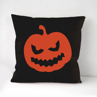 Halloween Pillow Cover, orange pumkin pillow cover, Black pillow, Black cushion, Wall Decor, Throw Pillow