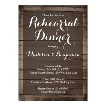 Antique Wood Wedding Rehearsal Dinner Invitations