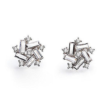 Sparkling Crystal Baguette Cut Star Burst Women / Girls Post Earrings