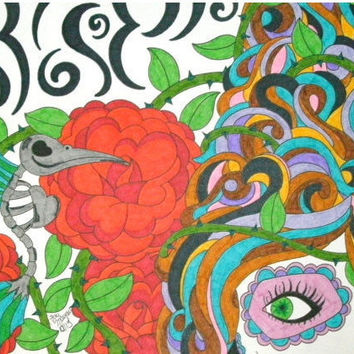 Colorful Sugar Skull Girl with Beehive Hair and Hummingbird Skeleton Marker and Sharpie 9x12 Drawing, Day of the Dead, Dia De Los Muertos