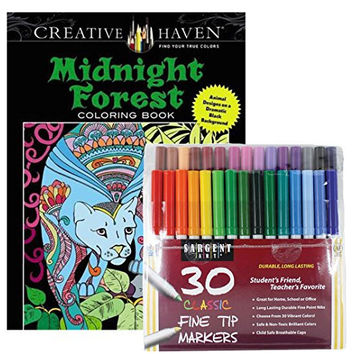 Sargent Art Classic Fine Tip Markers in a Case, Set of 30 and Dover Creative Haven Midnight Forest Coloring Book by Lindsey Boylan (Bundle of 2)