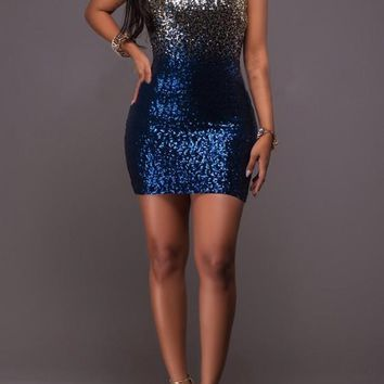 Casual Blue Patchwork Sequin Cut Out Tie Dye Backless V-neck Bodycon Mini Dress