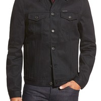 Men's Burberry Brit 'Skipper' Trim Fit Denim Jacket with Leather Collar,
