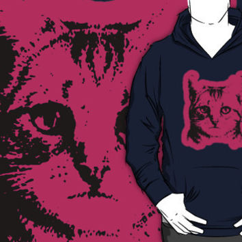 cat with pink outline hoodie