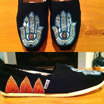 Hamsa Custom Hand Painted TOMS